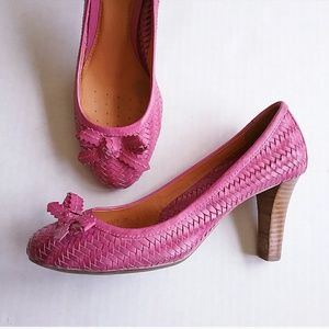 🔥Geox Pink Fuschia Leather Woven Heel Shoes